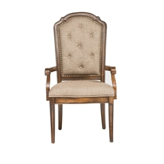 Amelia Antique Toffee Tufted Back Upholstered Arm Chair