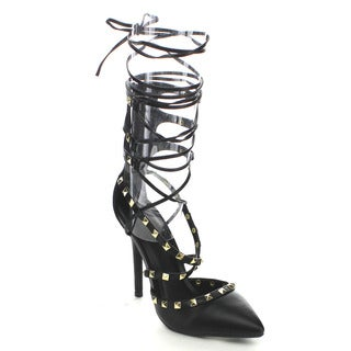 Wild Diva ADORA-126 Women's D'orsay Stud Criss Cross Lace-up Dress Heels