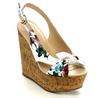 Wild Diva CHIC-126A Women's Print Bow Slingback Platform Wedge Heel Sandals