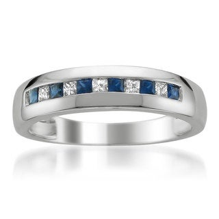 Montebello 14k White Gold Men's 1/5ct TDW Diamond and Sapphire Wedding Band (H-I, SI3-I1)