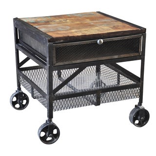 Wanderloot Industrial Metal Mesh Drawer Reclaimed Wood End Table with Caster Wheels (India)