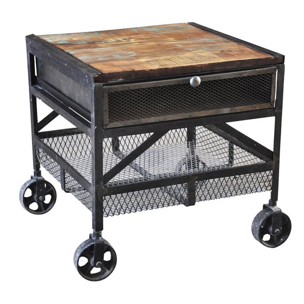 Superb Handmade Wanderloot Industrial Metal Mesh Drawer Reclaimed Wood End Table  With Caster Wheels (India)