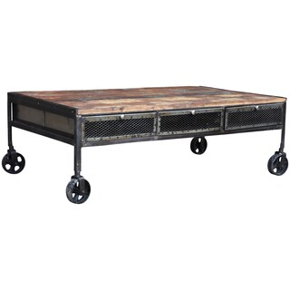 Handmade Wanderloot Industrial Metal Mesh Drawer Reclaimed Wood Coffee Table with Caster Wheels (India)