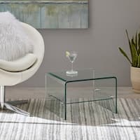 Ramona Transparent Glass End Table with Shelf by Christopher Knight Home