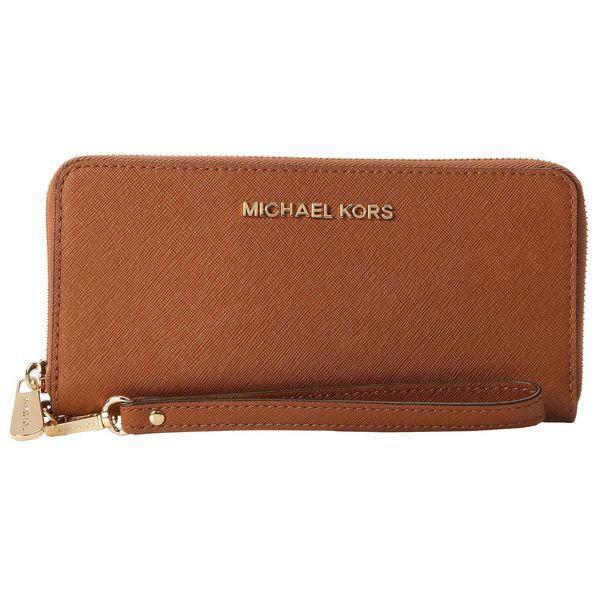 e95ff7b00591 Shop Michael Kors Jet Set Luggage Brown Travel Continental Wallet ...