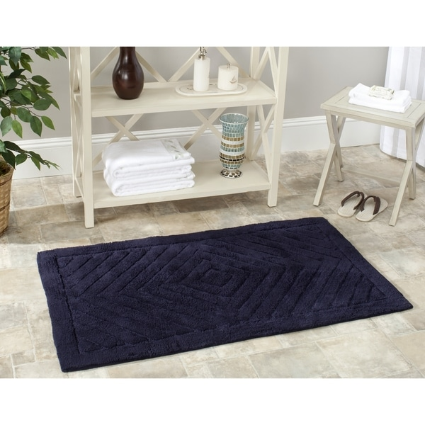 Safavieh Handmade Plush Master Bath Navy/ Navy Cotton Rug (2' 3 x 3' 9)