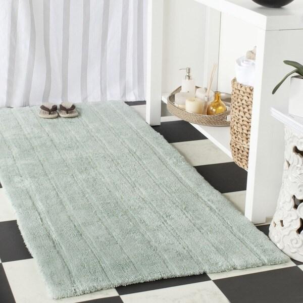 Safavieh Handmade Plush Master Bath Aqua Cotton Rug (2' 6 x 6')
