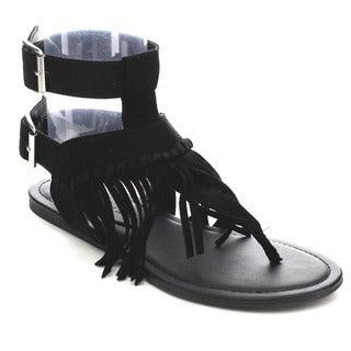 Wild Diva CLOVER-26 Women's Fringe Thong Sandals