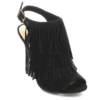 Wild Diva ADELE-319 Women's 3-layer Fringe Slingback Stiletto Dress Heels