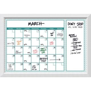 Blanco Turquoise Quatrefoil Dry-Erase Calendar Board 40 x 28-inch