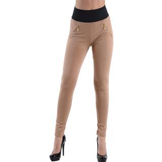 Dinamit Jeans Women's Khaki High Waisted Pocket Leggings