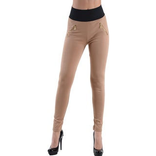 Dinamit Jeans Women's Khaki High Waisted Pocket Leggings