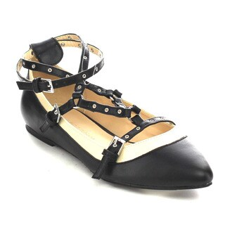Wild Diva PIPPA-127 Women's Strappy Ankle-wrap Flats