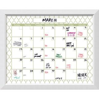Blanco Green Quatrefoil Dry-Erase Calendar Board 32 x 26-inch