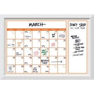 Blanco Orange Quatrefoil 36 x 24 Dry-Erase Calendar Board 40 x 28-inch