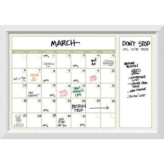 Blanco Green Quatrefoil 36 x 24 Dry-Erase Calendar Board 40 x 28-inch