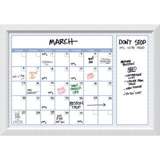 Blanco Soft Blue Quatrefoil Dry-Erase Calendar Board 40 x 28-inch