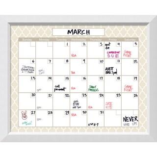 Blanco Beige Quatrefoil Dry-Erase Calendar Board 32 x 26-inch
