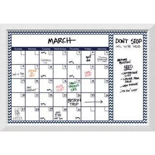 Blanco Blue Chevron Dry-Erase Calendar Board 40 x 28-inch