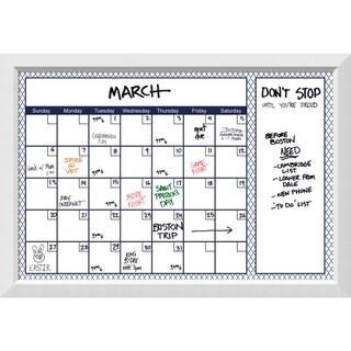 Blanco Blue Quatrefoil Dry-Erase Calendar Board 40 x 28-inch