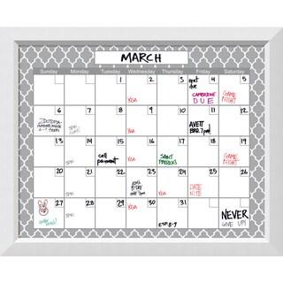 Blanco White Quatrefoil Dry-Erase Calendar Board 32 x 26-inch