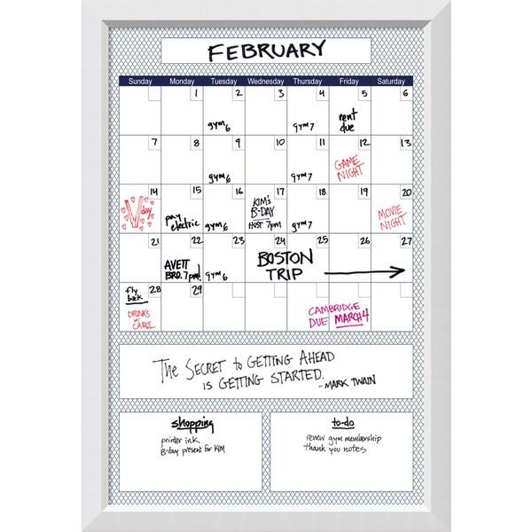 Shop Blanco Blue Quatrefoil Big Dry Erase Calendar Board 28 X 40