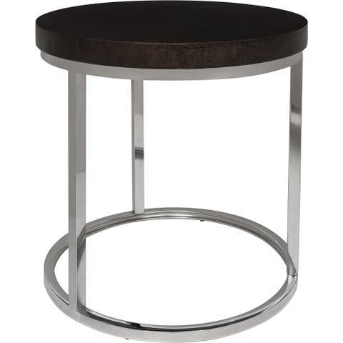 Safavieh Couture High Line Collection Turner Stainless Steel Round End Table - Silver