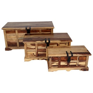 Set of 3 Porter Taos Solid Sheesham Storage Trunks Nesting Boxes (India)