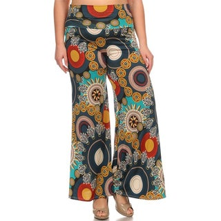 Moa Collection Women's Plus Size Floral Medallion Pants
