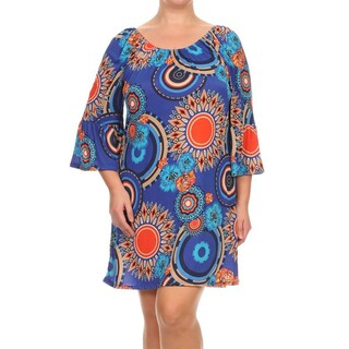 Moa Collection Women's Plus Size Floral Medallion Dress