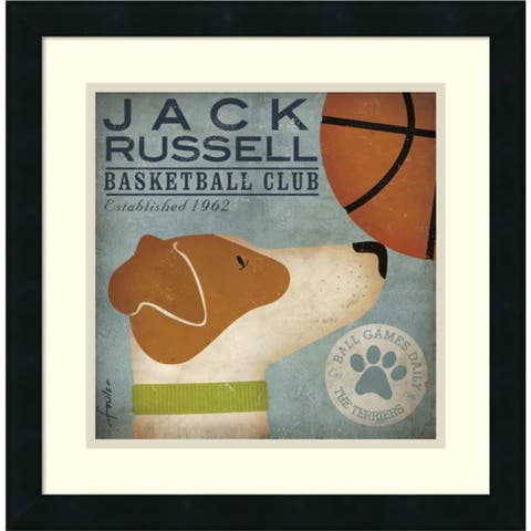 Framed Art Print 'Jack Russell Basketball' by Stephen Fowler 18 x 18-inch