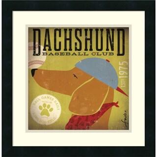 Stephen Fowler 'Dachsund Baseball' Framed Art Print 18 x 18-inch