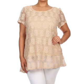 Moa Collection Women's Plus Size Khaki Crochet Lace Top