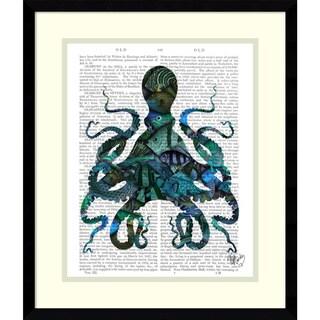 Fab Funky 'Fishy Blue Octopus' Framed Art Print 16 x 19-inch