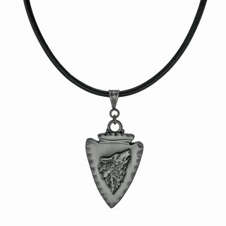Jewelry by Dawn Unisex Arrowhead Wolf Greek Leather Cord Necklace