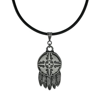 Handmade Jewelry By Dawn Unisex Native American Design Feathers Leather Cord Necklace USA Black Silver