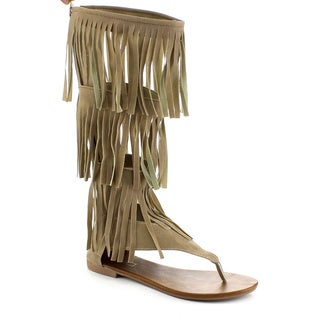 Beston DB36 Women's Fringe Gladiator Sandals