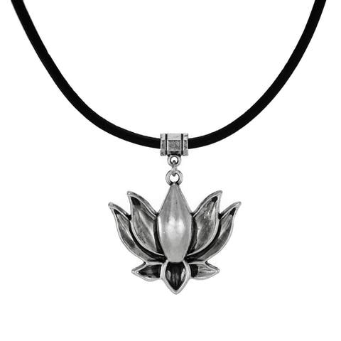 Handmade Jewelry by Dawn Pewter Lotus Leather Cord Necklace (USA) - Black/Silver