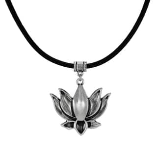 Jewelry by Dawn Pewter Lotus Greek Leather Cord Necklace - Black|https://ak1.ostkcdn.com/images/products/11325259/P18301753.jpg?impolicy=medium