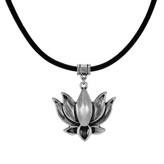 Jewelry by Dawn Pewter Lotus Greek Leather Cord Necklace - Black