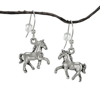 Handmade Jewelry by Dawn Small Antique Pewter Horse Earrings - Silver