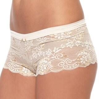 Prestige Biatta Women's Victoria Ivory Cross Dyed Lace Hot Short Panties