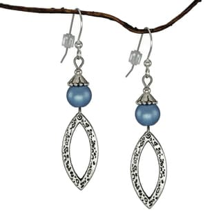 Jewelry by Dawn Blue Antique Pewter Marquis Dangle Earrings