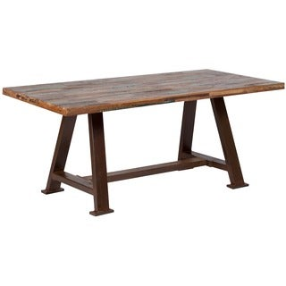 Handmade Wanderloot Brooklyn Reclaimed Salvage Wood Dining Table with Heavy Metal Industrial Base (India)
