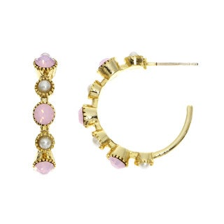 Isla Simone 14k Yellow Goldplated Colored Austrian Crystal J-Hoop Earring