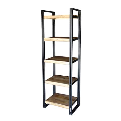 "Handmade Reclaimed Wood and Metal Bookcase (India) - 71"" x 23.75"" x 15.75"""