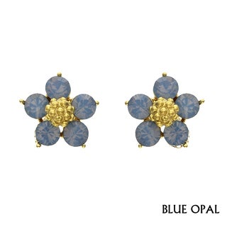 Isla Simone - Gold Plated Five Pedal Flower Earring with Colored Austrian Crystal