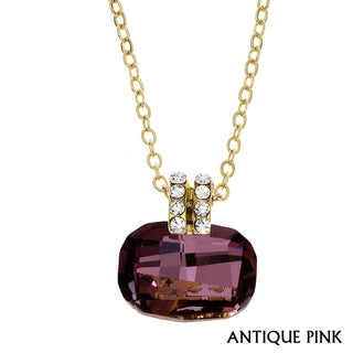 Isla Simone - Gold Plated Cushion Cut Necklace with Assorted Color Crystal