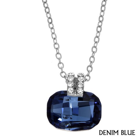 Isla Simone - Rhodium Plated Cushion Cut Necklace with Assorted Color Crystal