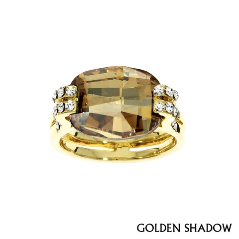 Isla Simone - Gold Plated Cushion Cut Ring with Assorted Color Austrian Crystal